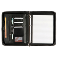 Black Balmoral Leather A4 Deluxe Zipped Ring Binder