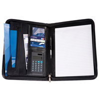 Black Balmoral Leather A4 Deluxe Zipped Conference Folder With Calculator